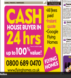 Flying Homes Daily Mirror cash house sale advert