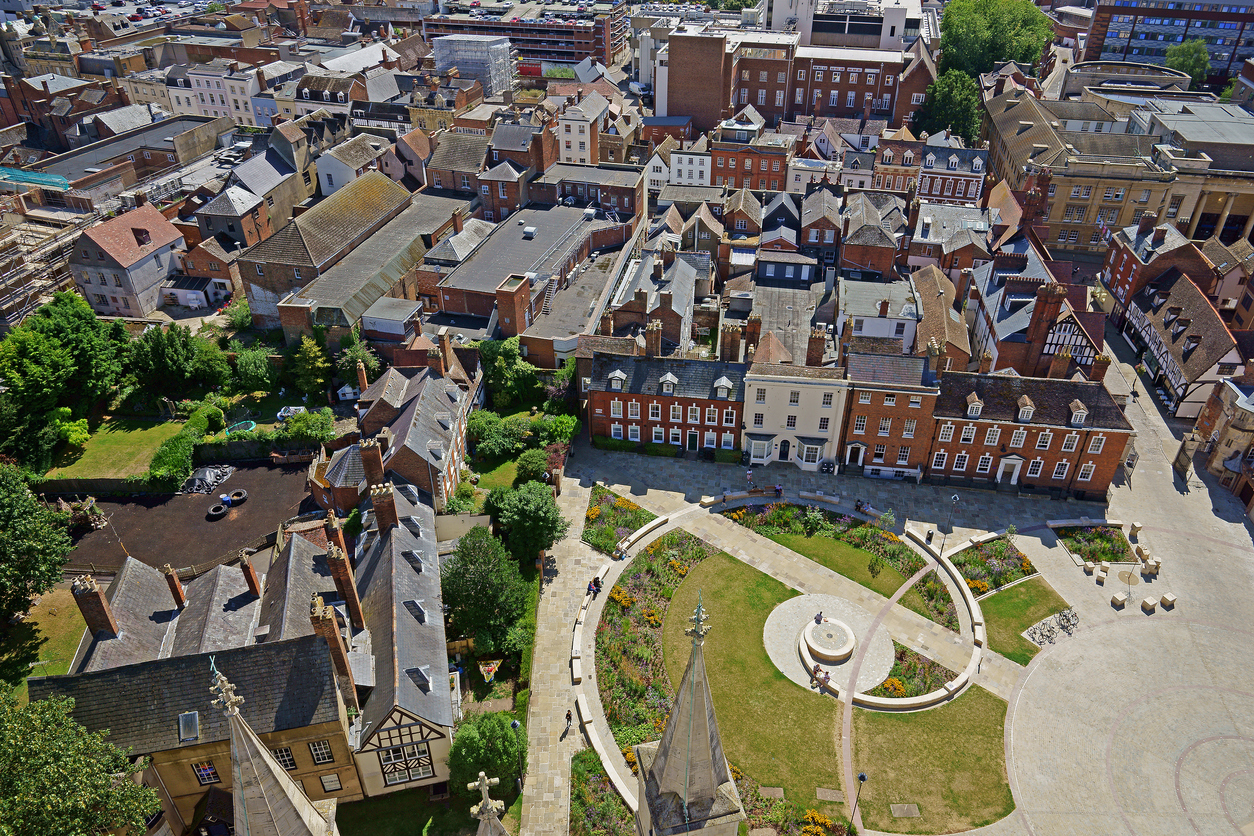 An aerial view of the Cathedral Green, Gloucester, Gloucestershire, UK