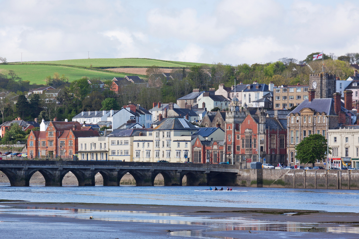 Scene on the river Torridge at the charming town of Bideford UK