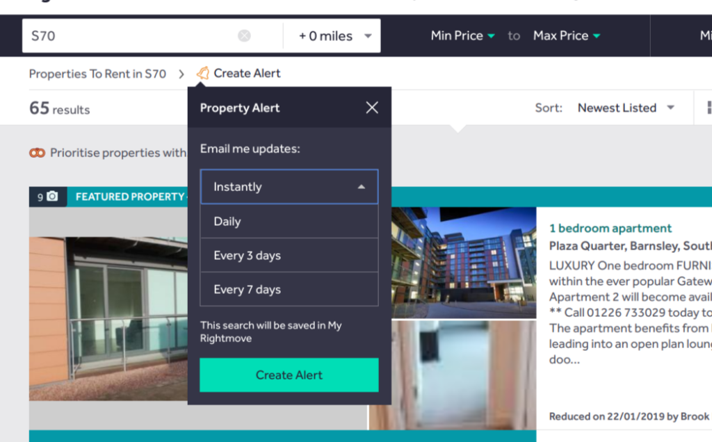 Rightmove 'Instant alerts, step 3