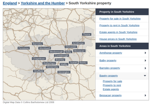 Rightmove property map south yorkshire bawtry