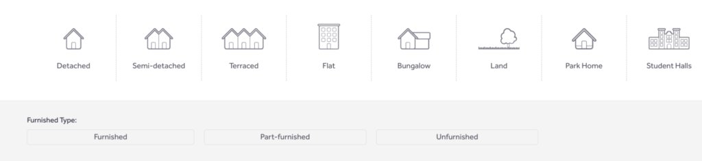 Rightmove property type filters