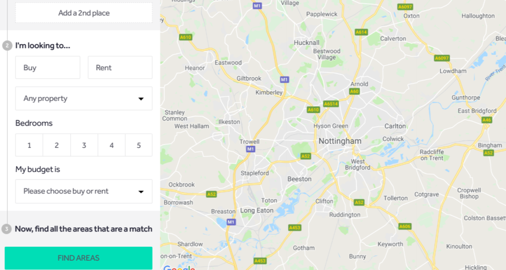 Rightmove 'Where can I afford to live' further criteria selection